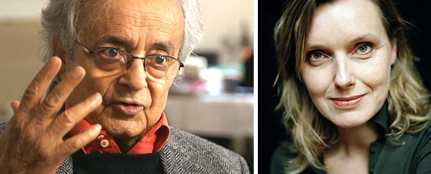 Poetry International Festival met links op de foto de Syrische dichter Adonis en rechts op de foto Anne Vegter