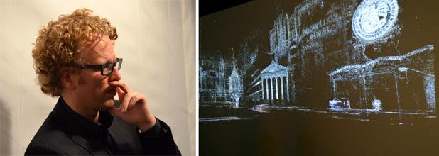 V2_Lab Show: links - Boris Debackere, Nieuwe koers voor V2_Lab. rechts - Bezoekers kunnen door amalgaan van stadsfoto s navigeren in installatie van  Marnix de Nijs.