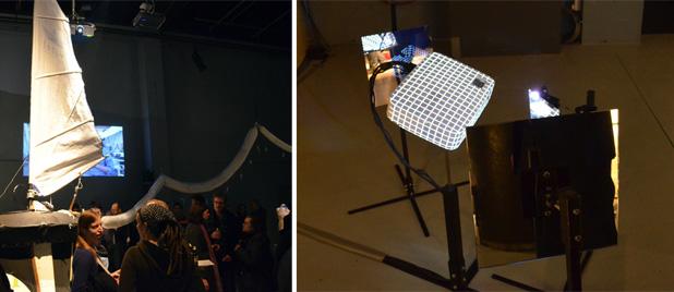 V2_Lab Show: links - Protei is een robot-zeilschip bedoeld om olievervuiling op te ruimen. rechts - Re: van Carolien Teunisse en Bram Snijders maken de videoprojector tot acteur van zijn eigen schouwspel.