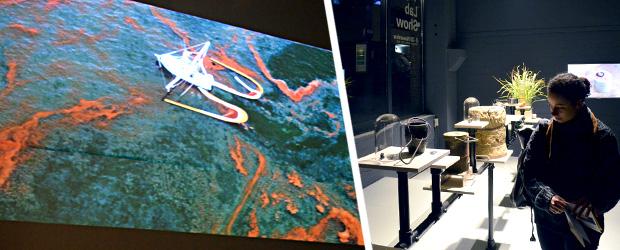V2_Lad Show: links - Protei is een robot-zeilschip bedoeld om olievervuiling op te ruimen. Hier als model gezien uit de lucht rechts - Cecilia Johnsson laat zien hoe je echt ijzer uit gras kan halen